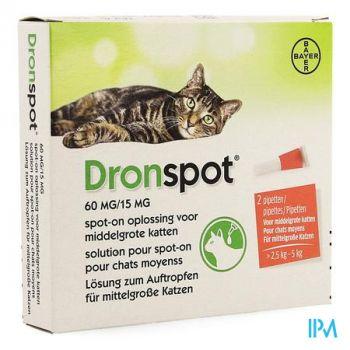Dronspot 60mg/15mg Spot-on Kat Medium>2,5-5kg Pip2